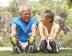 old couple exercising