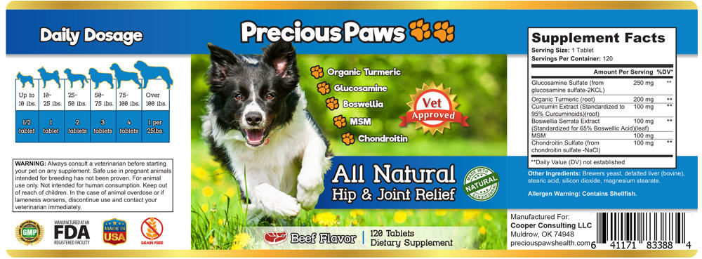 Label Design Precious Paw Hip & Joint Support