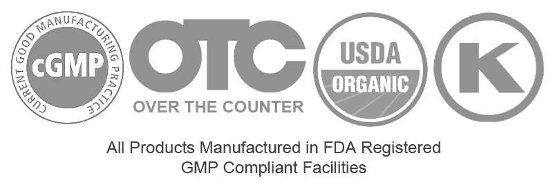 cGMP Compliant, Over the Counter, USDA Organic, Kosher
